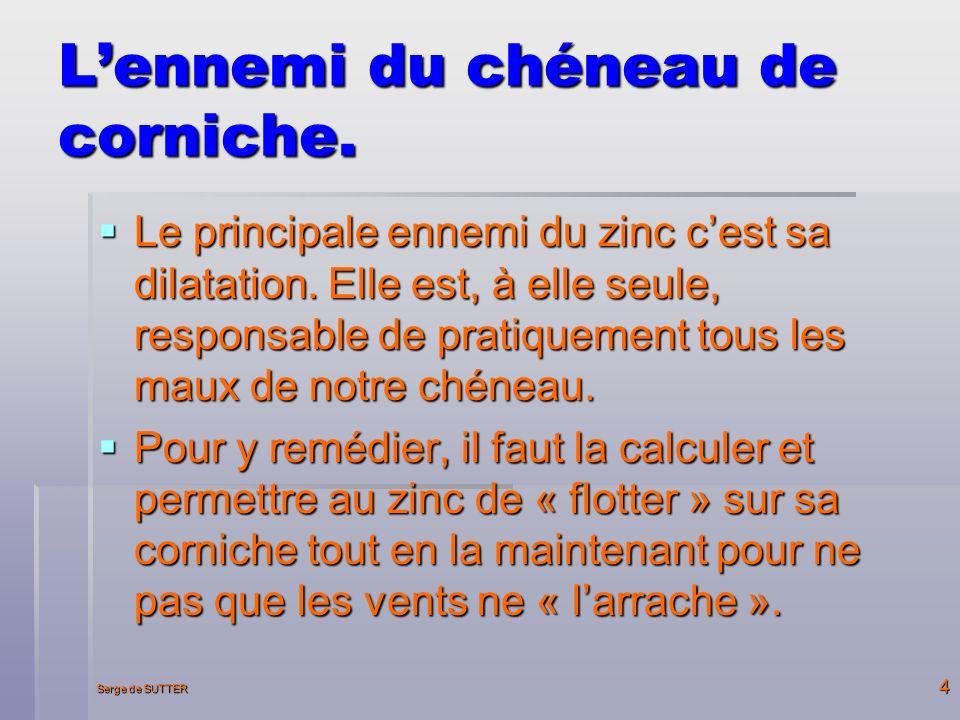 Serge de SUTTER 4 Lennemi du chéneau de corniche.Le principale ennemi du zinc cest sa dilatation.