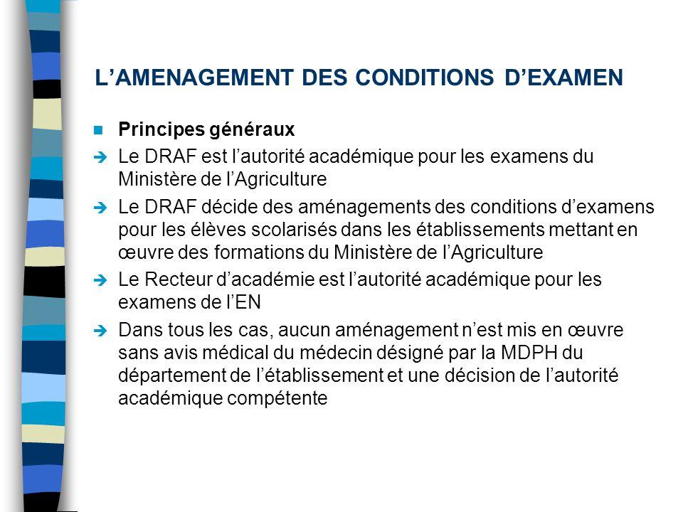 LAMENAGEMENT DES CONDITIONS DEXAMEN Principes généraux Le DRAF est lautorité académique pour les examens du Ministère de lAgriculture Le DRAF décide d