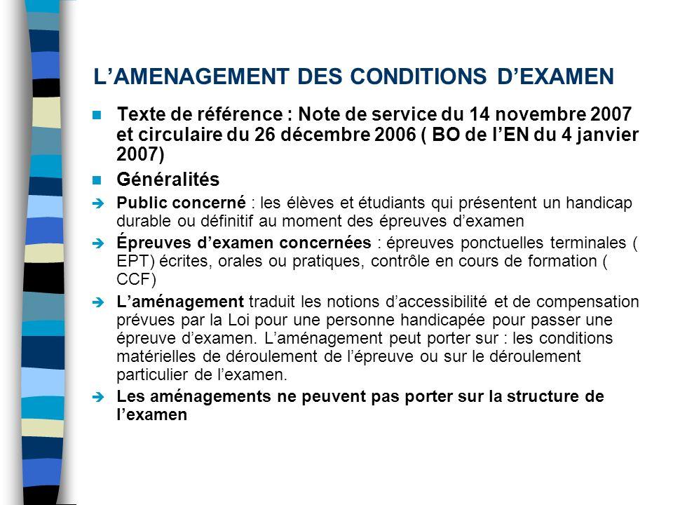 LAMENAGEMENT DES CONDITIONS DEXAMEN Texte de référence : Note de service du 14 novembre 2007 et circulaire du 26 décembre 2006 ( BO de lEN du 4 janvie