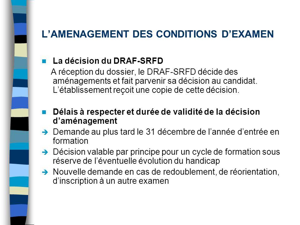 LAMENAGEMENT DES CONDITIONS DEXAMEN La décision du DRAF-SRFD A réception du dossier, le DRAF-SRFD décide des aménagements et fait parvenir sa décision