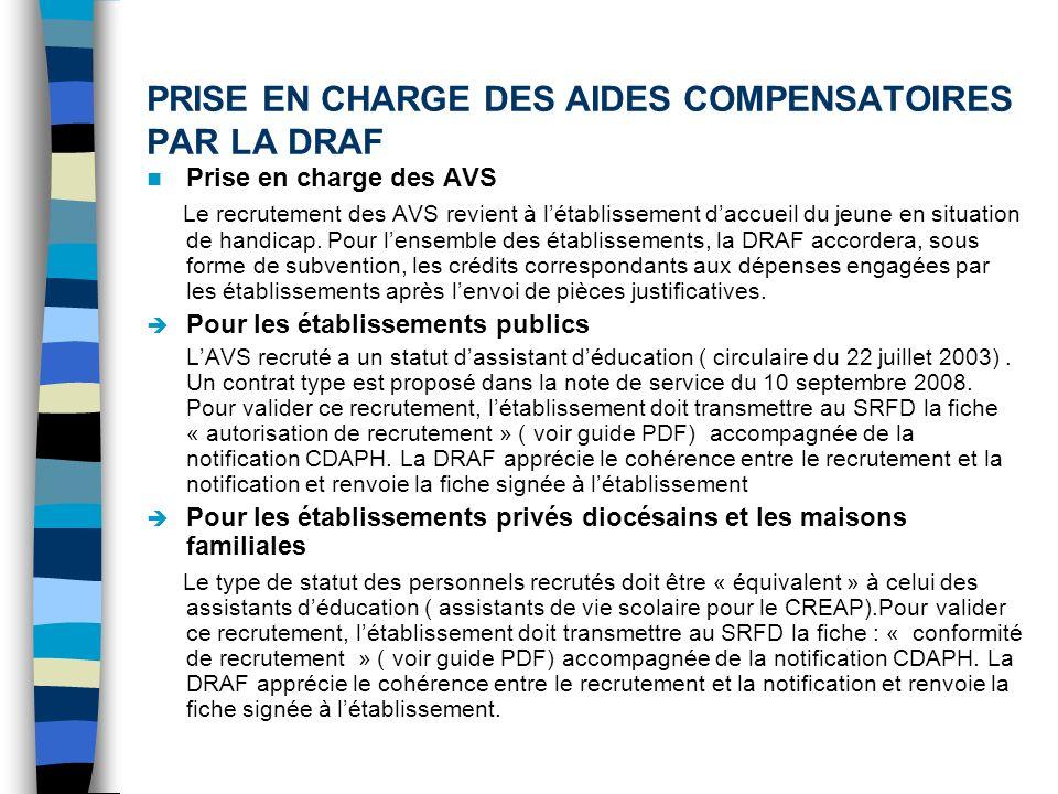 PRISE EN CHARGE DES AIDES COMPENSATOIRES PAR LA DRAF Prise en charge des AVS Le recrutement des AVS revient à létablissement daccueil du jeune en situ
