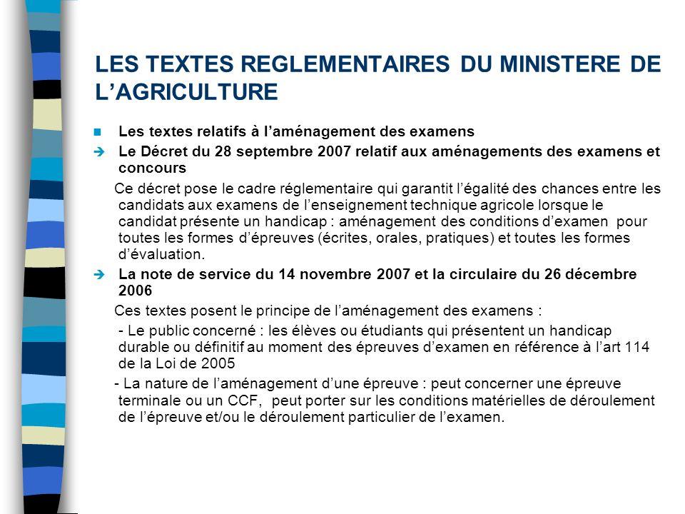 LES TEXTES REGLEMENTAIRES DU MINISTERE DE LAGRICULTURE Les textes relatifs à laménagement des examens Le Décret du 28 septembre 2007 relatif aux aména