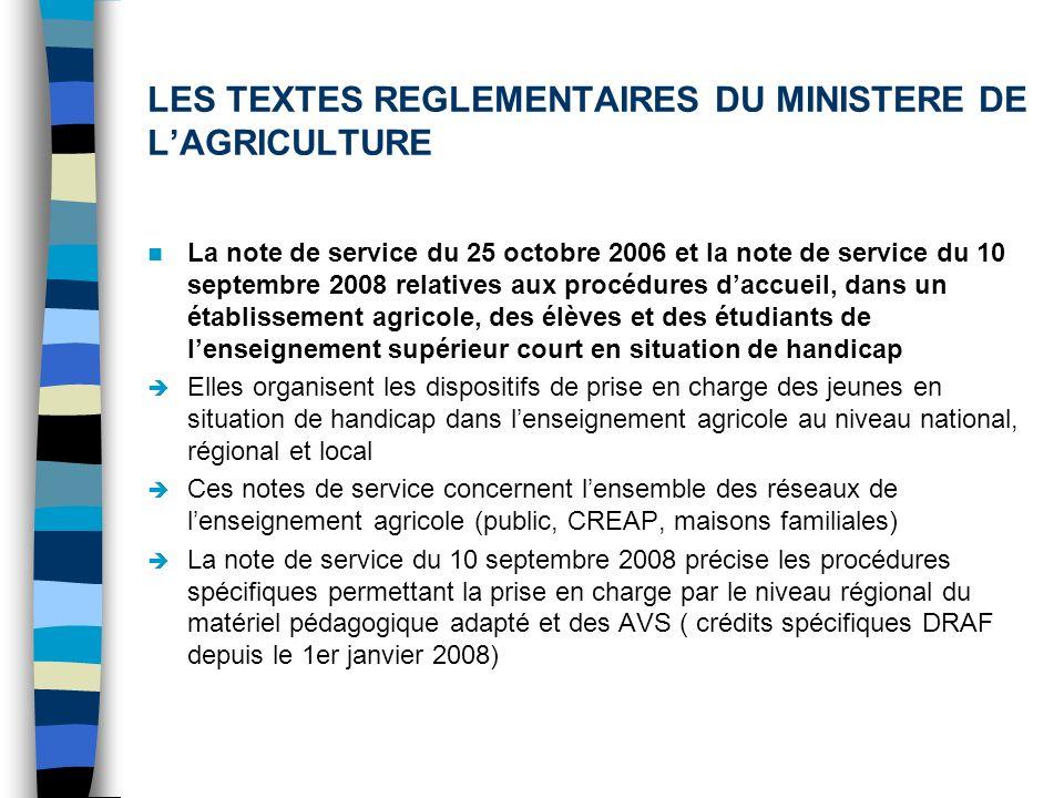LES TEXTES REGLEMENTAIRES DU MINISTERE DE LAGRICULTURE La note de service du 25 octobre 2006 et la note de service du 10 septembre 2008 relatives aux