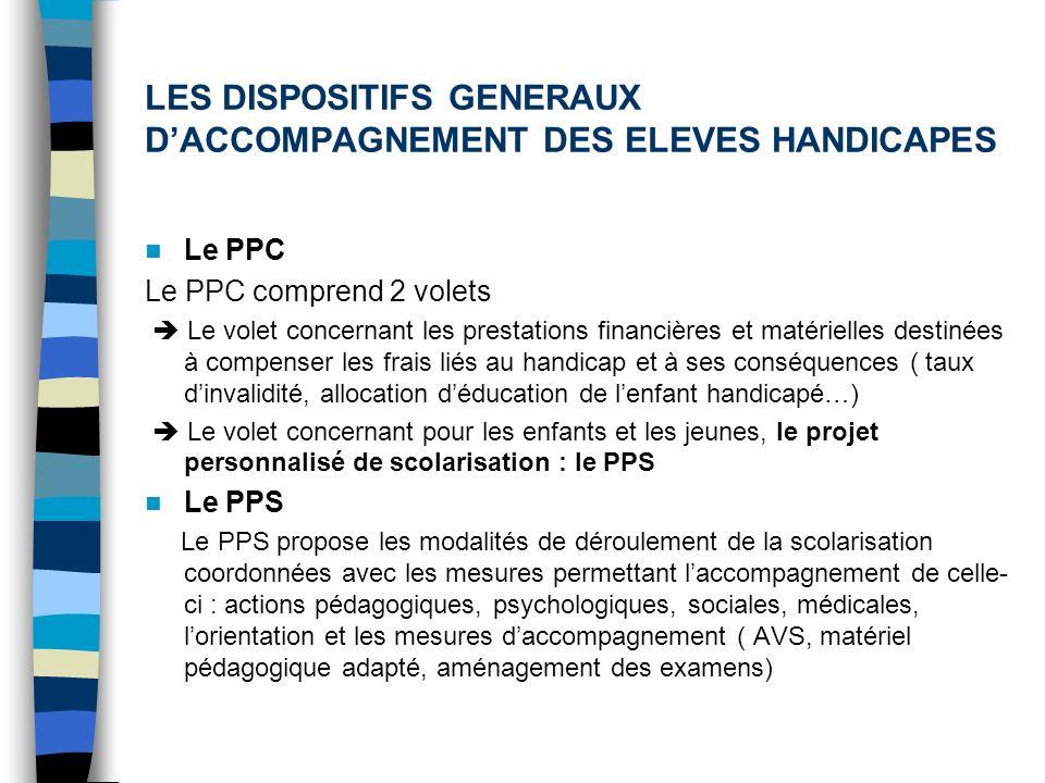 LES DISPOSITIFS GENERAUX DACCOMPAGNEMENT DES ELEVES HANDICAPES Le PPC Le PPC comprend 2 volets Le volet concernant les prestations financières et maté