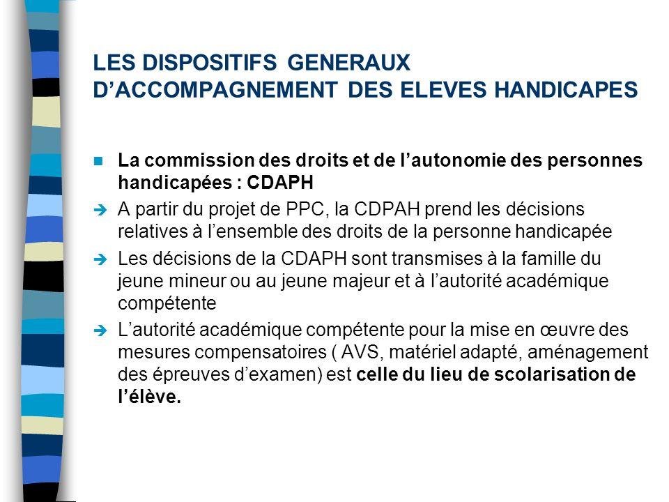 LES DISPOSITIFS GENERAUX DACCOMPAGNEMENT DES ELEVES HANDICAPES La commission des droits et de lautonomie des personnes handicapées : CDAPH A partir du