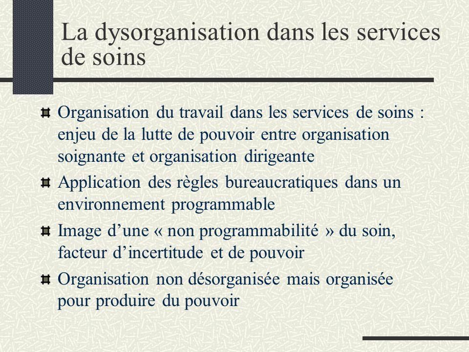 La dysorganisation dans les services de soins Organisation du travail dans les services de soins : enjeu de la lutte de pouvoir entre organisation soi