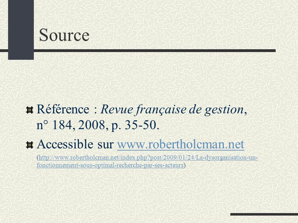Source Référence : Revue française de gestion, n° 184, 2008, p. 35-50. Accessible sur www.robertholcman.netwww.robertholcman.net (http://www.roberthol