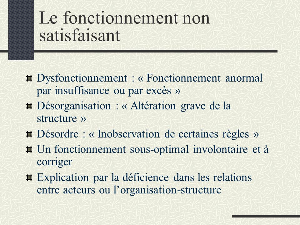 Un fonctionnement sous-optimal satisfaisant Fonctionnement de lorganisation-processus Dysfonction selon certains critères Satisfaisant selon dautres critères