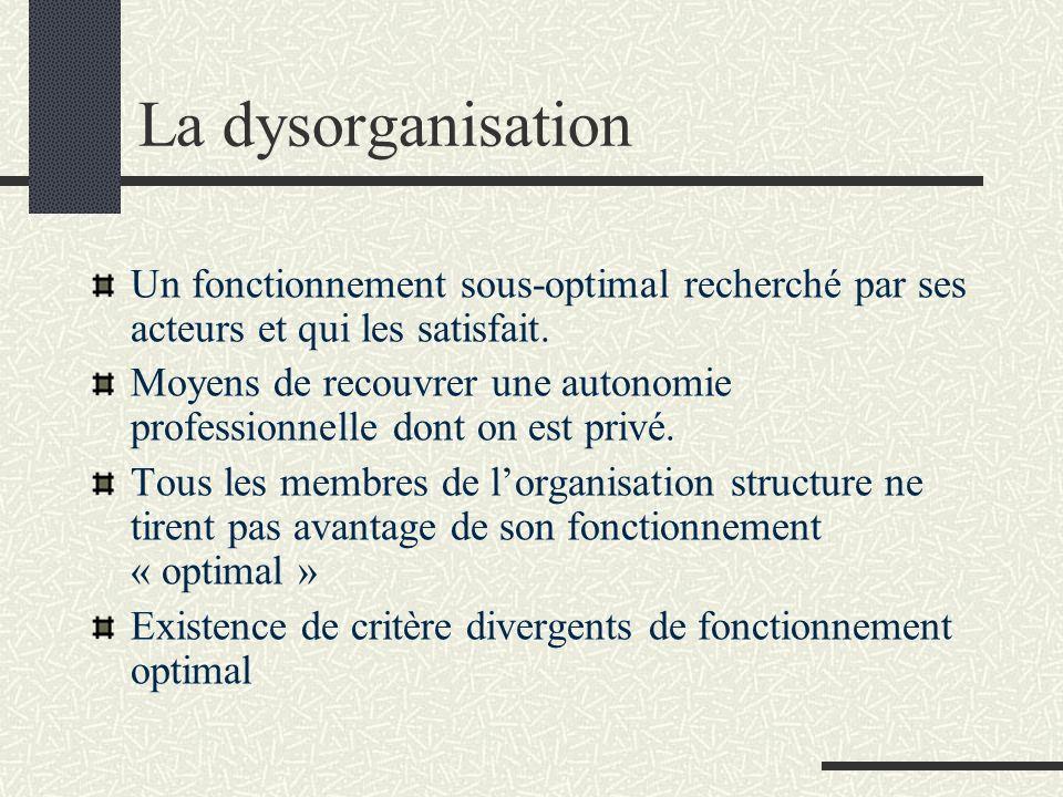 La dysorganisation Un fonctionnement sous-optimal recherché par ses acteurs et qui les satisfait. Moyens de recouvrer une autonomie professionnelle do