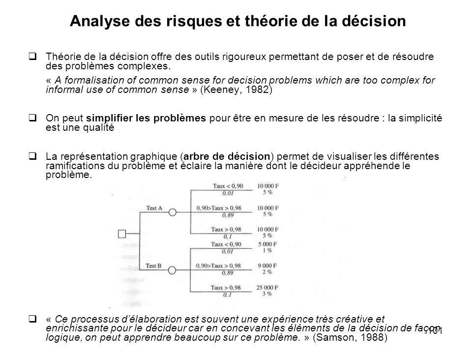 101 Analyse des risques et théorie de la décision Théorie de la décision offre des outils rigoureux permettant de poser et de résoudre des problèmes c