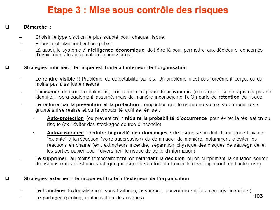 103 Etape 3 : Mise sous contrôle des risques Démarche : –Choisir le type daction le plus adapté pour chaque risque. –Prioriser et planifier laction gl
