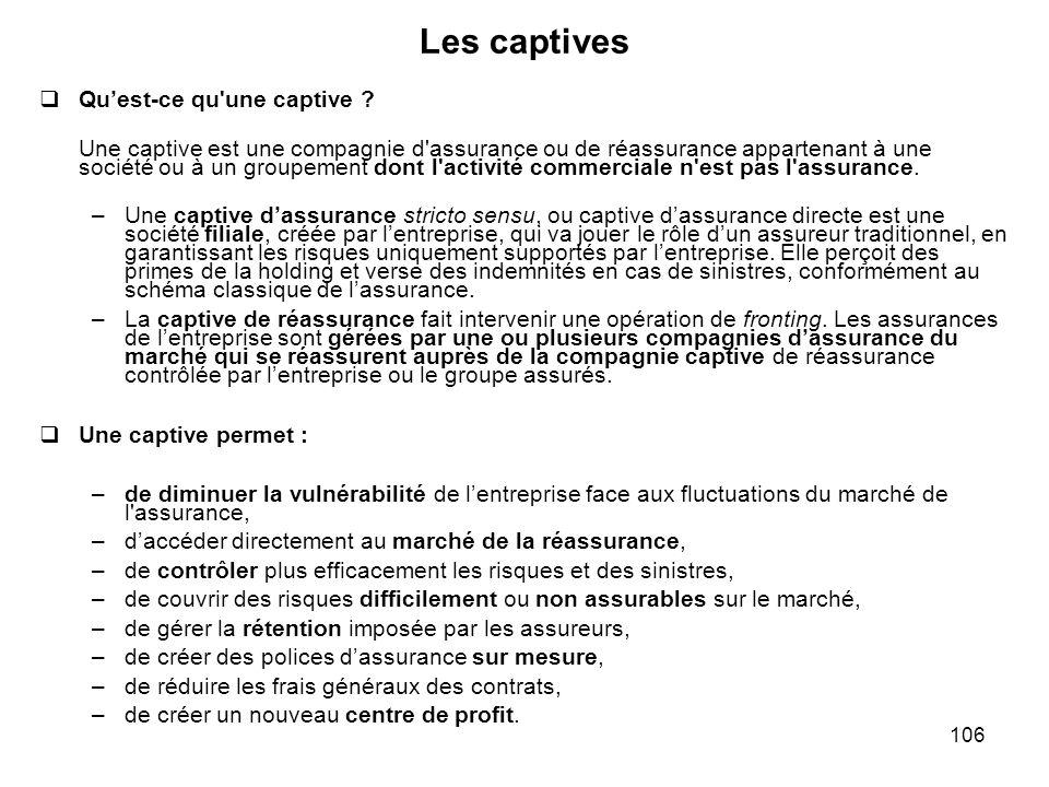 106 Les captives Quest-ce qu'une captive ? Une captive est une compagnie d'assurance ou de réassurance appartenant à une société ou à un groupement do