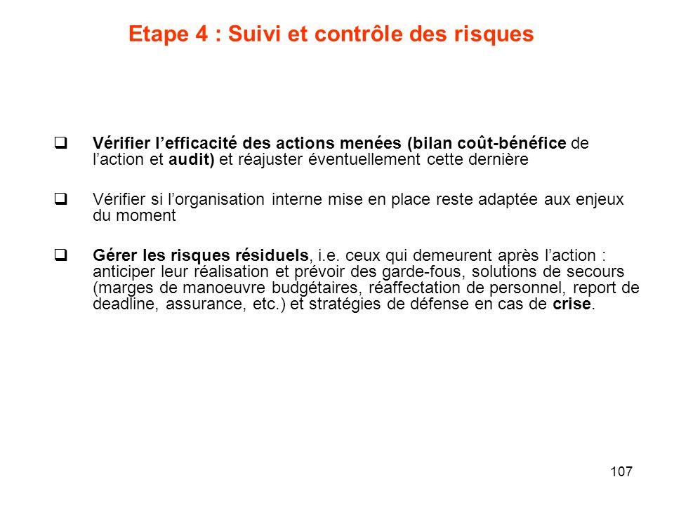107 Etape 4 : Suivi et contrôle des risques Vérifier lefficacité des actions menées (bilan coût-bénéfice de laction et audit) et réajuster éventuellem