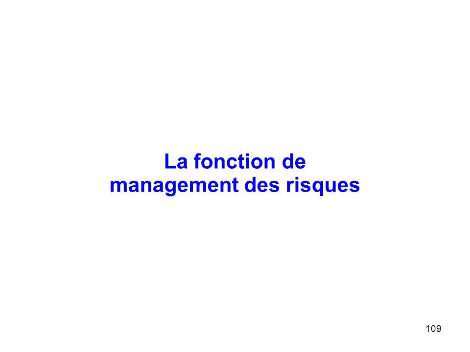 109 La fonction de management des risques