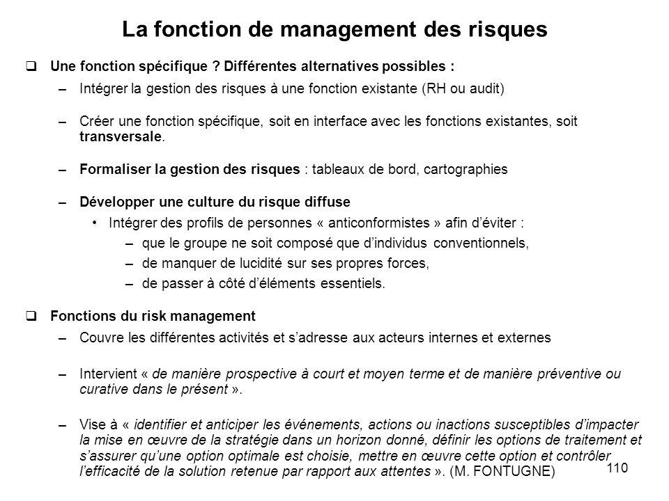 110 La fonction de management des risques Une fonction spécifique ? Différentes alternatives possibles : –Intégrer la gestion des risques à une foncti