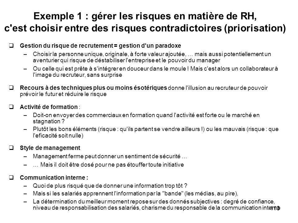 113 Exemple 1 : gérer les risques en matière de RH, c'est choisir entre des risques contradictoires (priorisation) Gestion du risque de recrutement =