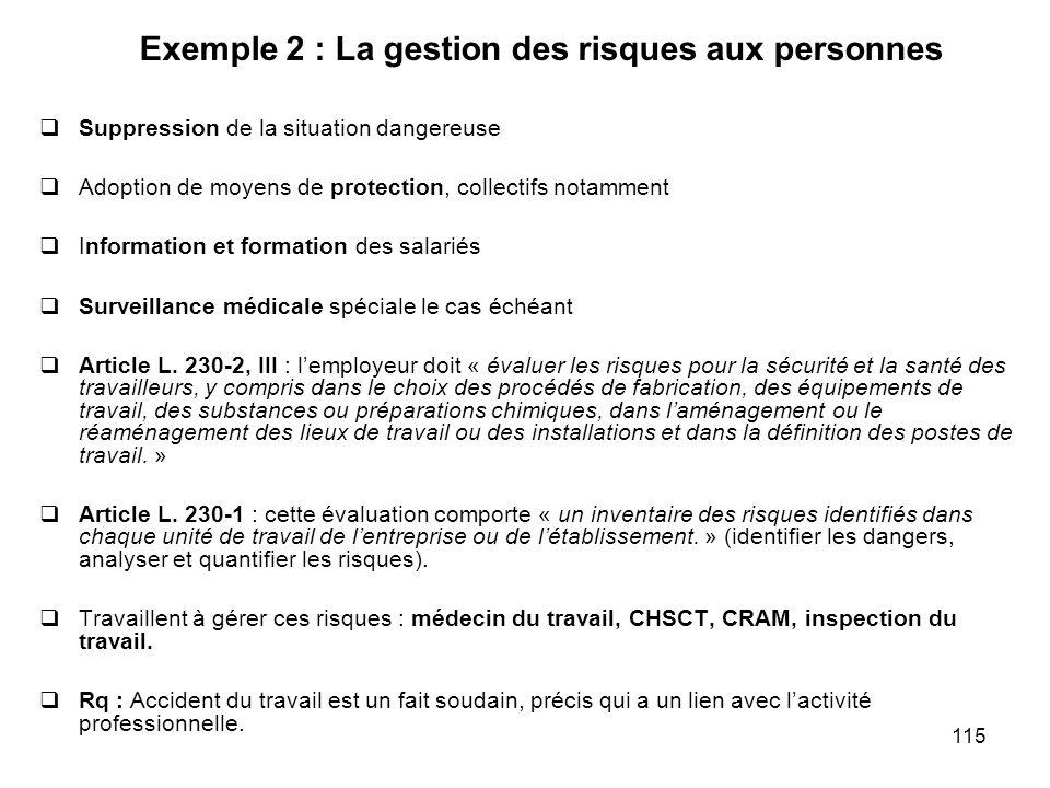 115 Exemple 2 : La gestion des risques aux personnes Suppression de la situation dangereuse Adoption de moyens de protection, collectifs notamment Inf