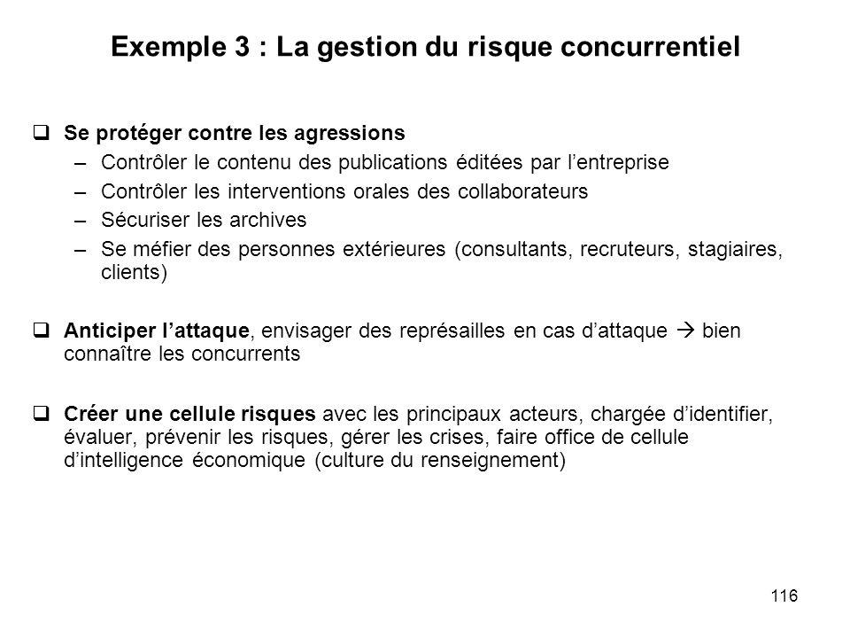 116 Exemple 3 : La gestion du risque concurrentiel Se protéger contre les agressions –Contrôler le contenu des publications éditées par lentreprise –C