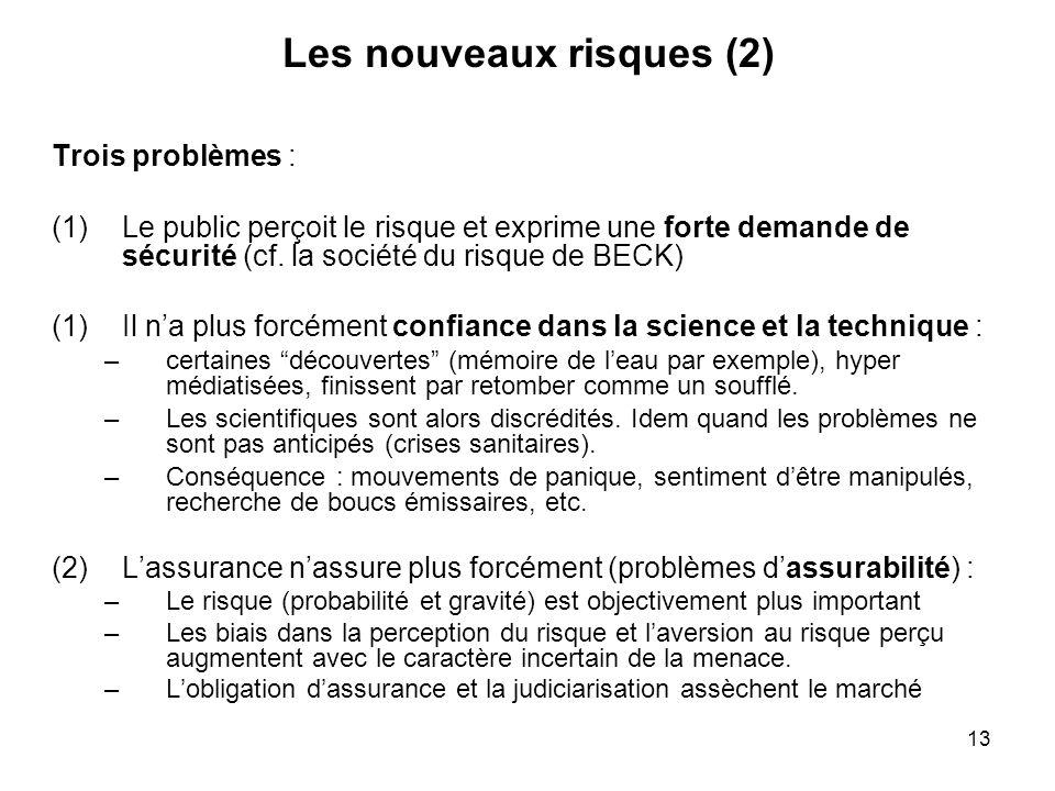 13 Les nouveaux risques (2) Trois problèmes : (1)Le public perçoit le risque et exprime une forte demande de sécurité (cf. la société du risque de BEC