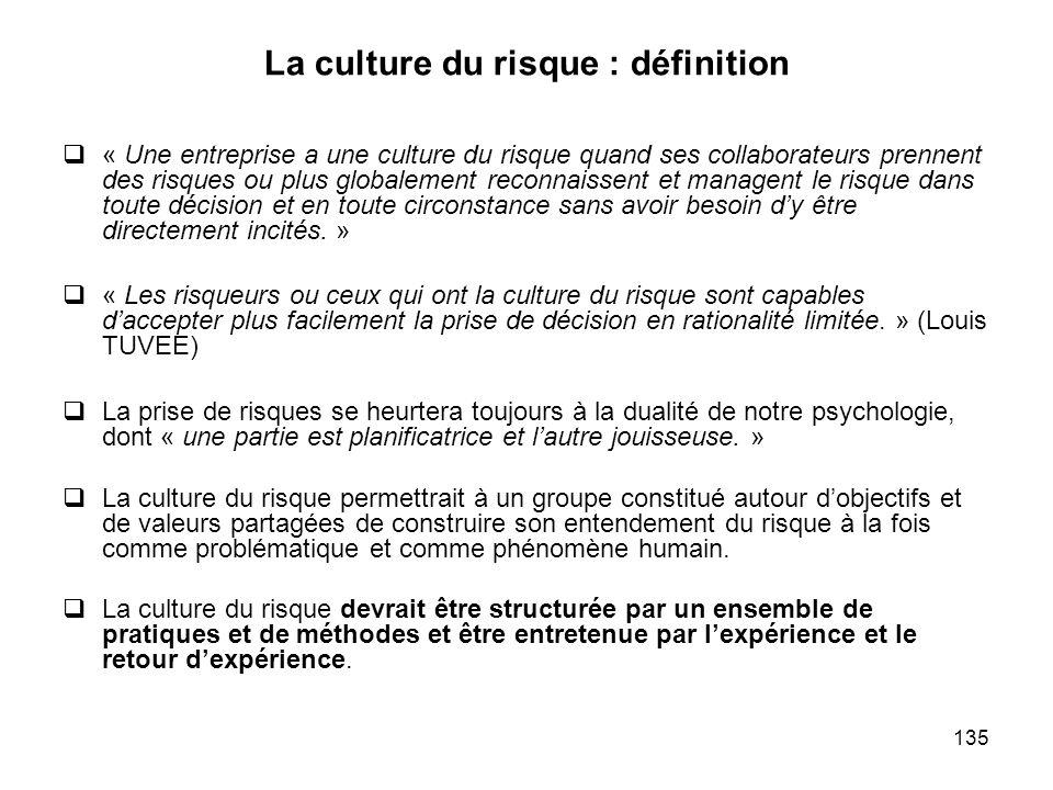 135 La culture du risque : définition « Une entreprise a une culture du risque quand ses collaborateurs prennent des risques ou plus globalement recon