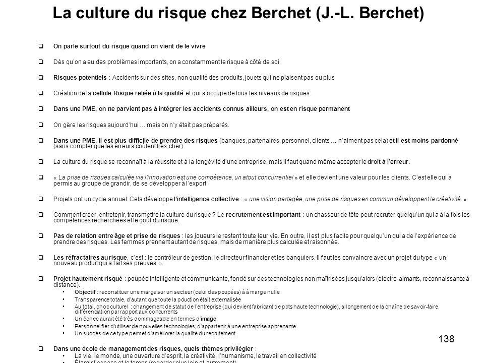 138 La culture du risque chez Berchet (J.-L. Berchet) On parle surtout du risque quand on vient de le vivre Dès quon a eu des problèmes importants, on