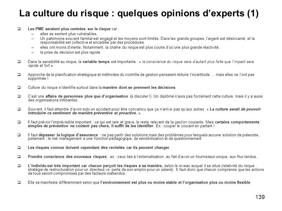 139 La culture du risque : quelques opinions dexperts (1) Les PME seraient plus centrées sur le risque car : –elles se sentent plus vulnérables, –Un p