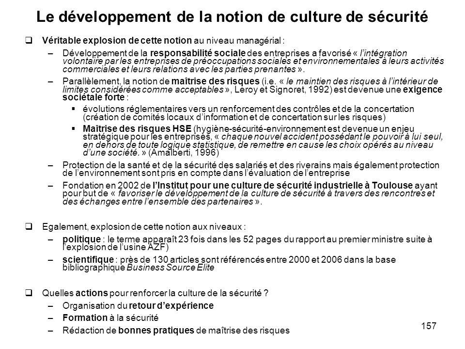 157 Le développement de la notion de culture de sécurité Véritable explosion de cette notion au niveau managérial : –Développement de la responsabilit