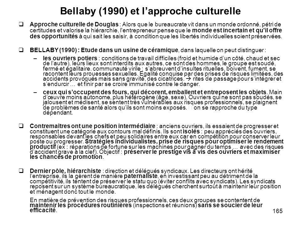 165 Bellaby (1990) et lapproche culturelle Approche culturelle de Douglas : Alors que le bureaucrate vit dans un monde ordonné, pétri de certitudes et
