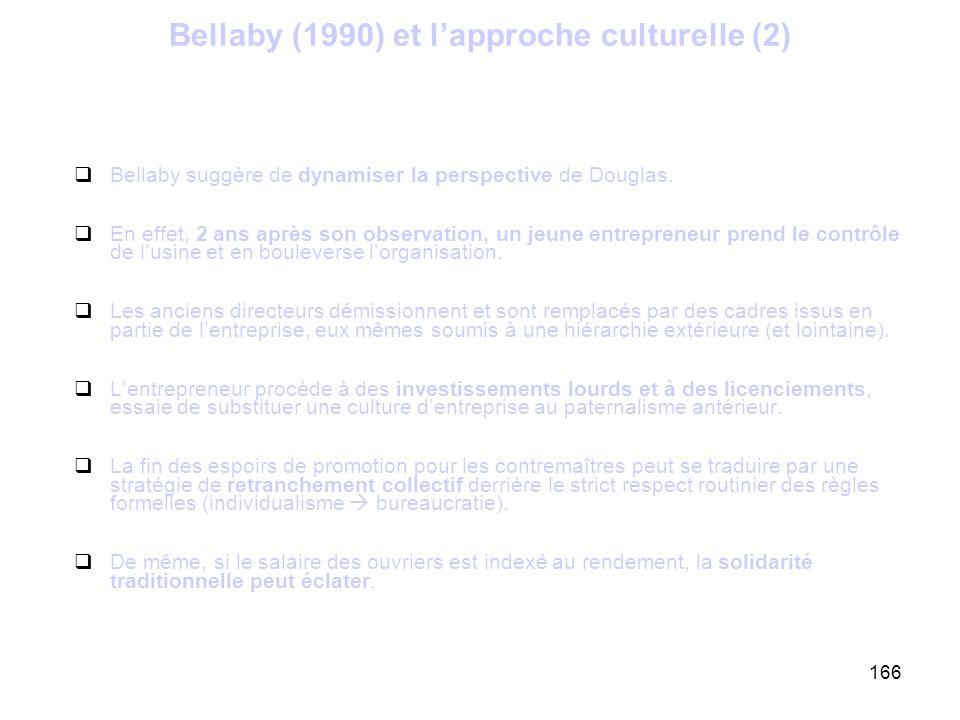 166 Bellaby (1990) et lapproche culturelle (2) Bellaby suggère de dynamiser la perspective de Douglas. En effet, 2 ans après son observation, un jeune