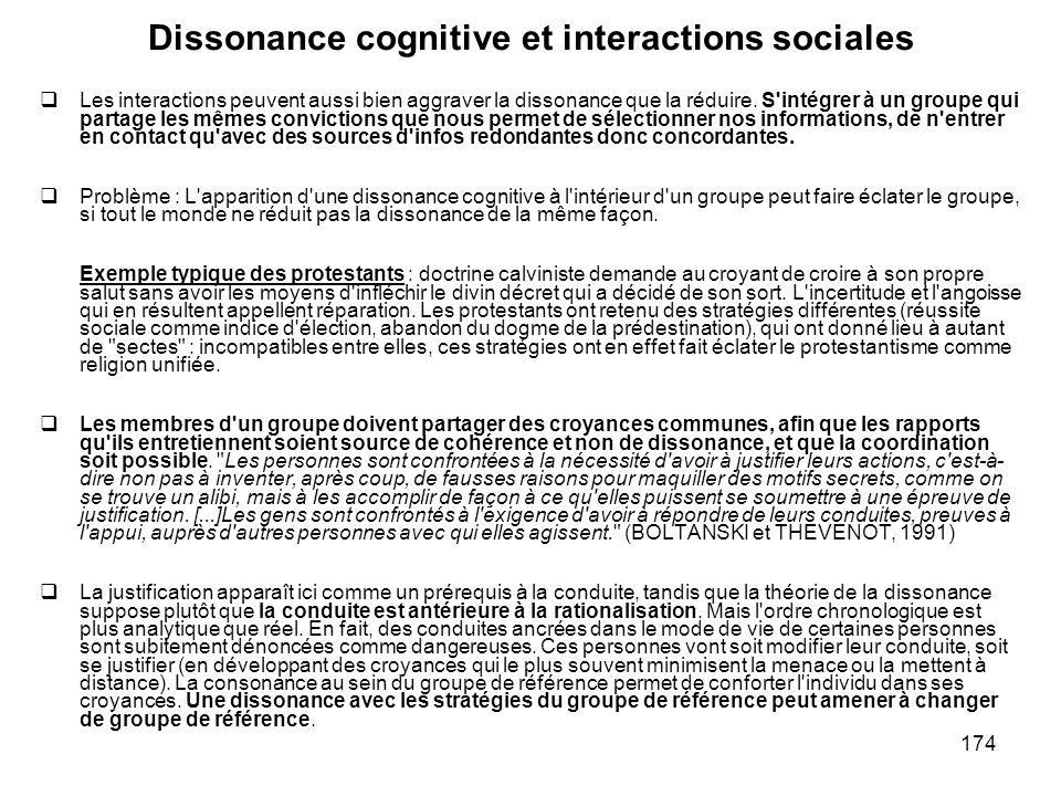 174 Dissonance cognitive et interactions sociales Les interactions peuvent aussi bien aggraver la dissonance que la réduire. S'intégrer à un groupe qu