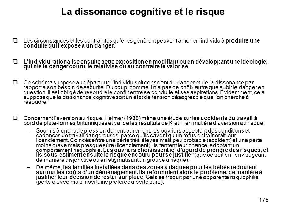 175 La dissonance cognitive et le risque Les circonstances et les contraintes quelles génèrent peuvent amener lindividu à produire une conduite qui l'