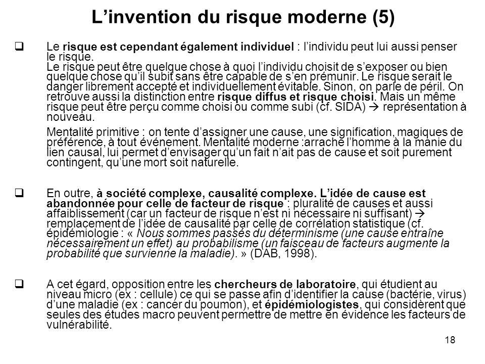 18 Linvention du risque moderne (5) Le risque est cependant également individuel : lindividu peut lui aussi penser le risque. Le risque peut être quel