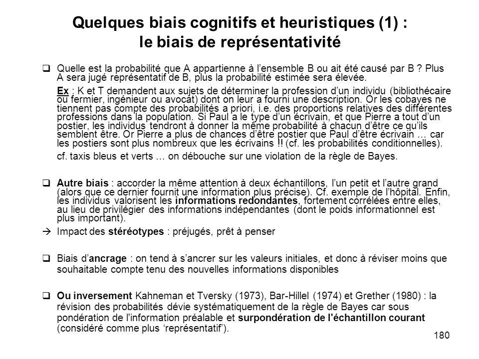 180 Quelques biais cognitifs et heuristiques (1) : le biais de représentativité Quelle est la probabilité que A appartienne à lensemble B ou ait été c