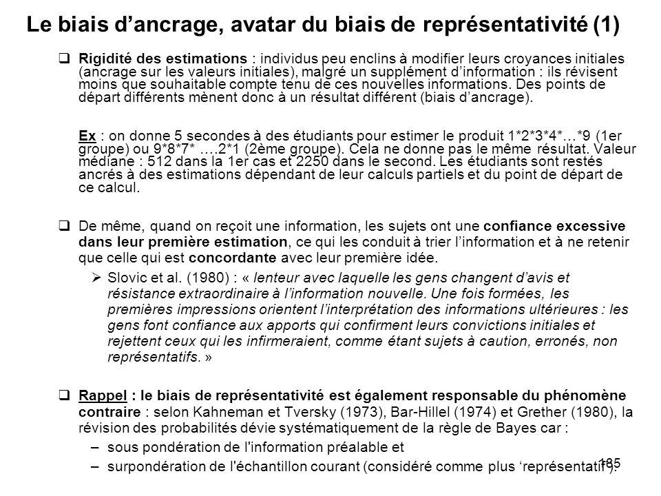 185 Le biais dancrage, avatar du biais de représentativité (1) Rigidité des estimations : individus peu enclins à modifier leurs croyances initiales (
