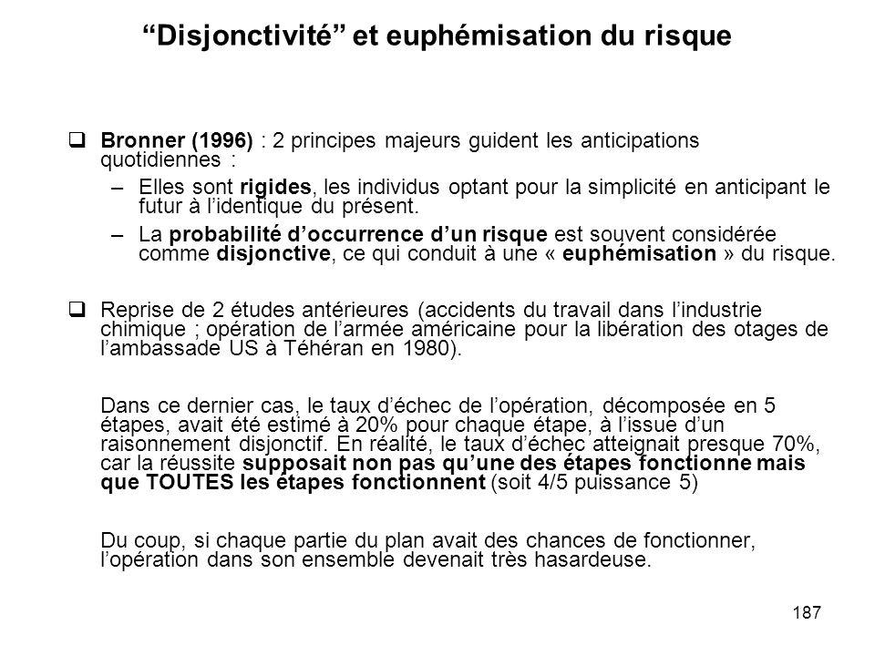 187 Disjonctivité et euphémisation du risque Bronner (1996) : 2 principes majeurs guident les anticipations quotidiennes : –Elles sont rigides, les in
