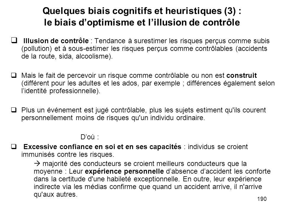 190 Quelques biais cognitifs et heuristiques (3) : le biais doptimisme et lillusion de contrôle Illusion de contrôle : Tendance à surestimer les risqu