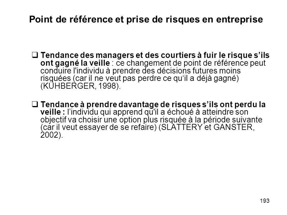 193 Point de référence et prise de risques en entreprise Tendance des managers et des courtiers à fuir le risque sils ont gagné la veille : ce changem