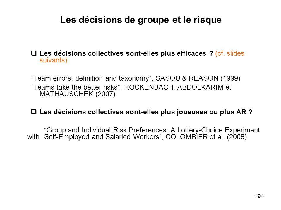 194 Les décisions de groupe et le risque Les décisions collectives sont-elles plus efficaces ? (cf. slides suivants) Team errors: definition and taxon