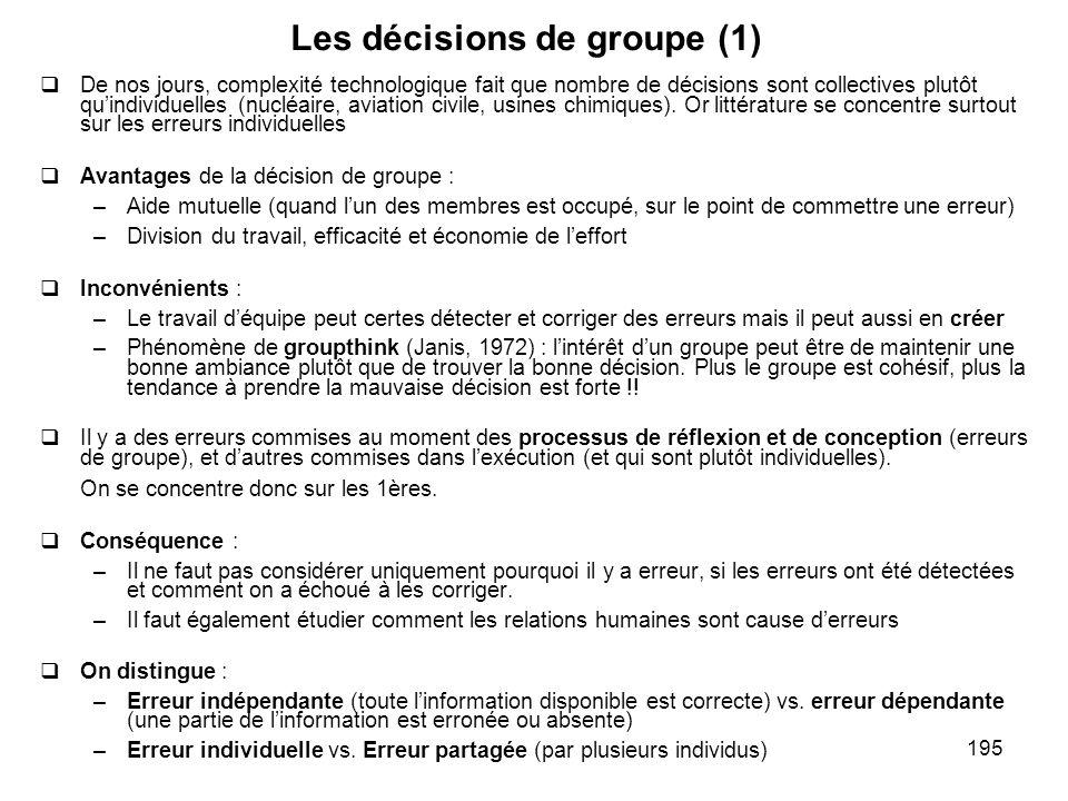 195 Les décisions de groupe (1) De nos jours, complexité technologique fait que nombre de décisions sont collectives plutôt quindividuelles (nucléaire