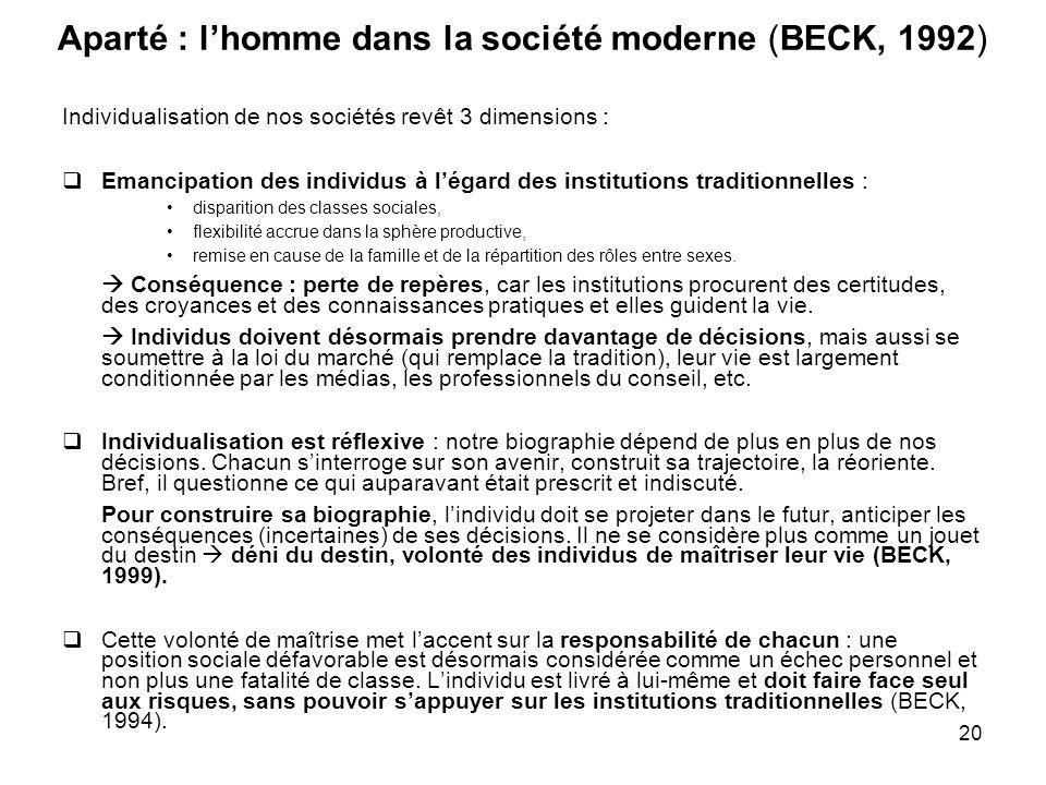 20 Aparté : lhomme dans la société moderne (BECK, 1992) Individualisation de nos sociétés revêt 3 dimensions : Emancipation des individus à légard des
