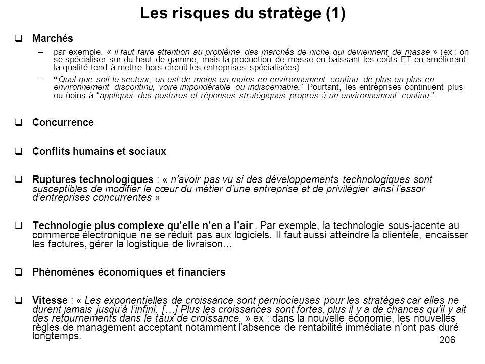 206 Les risques du stratège (1) Marchés –par exemple, « il faut faire attention au problème des marchés de niche qui deviennent de masse » (ex : on se