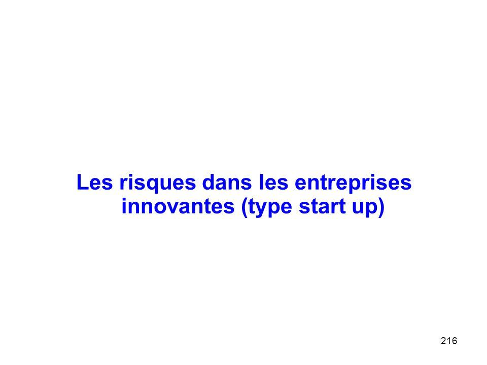 216 Les risques dans les entreprises innovantes (type start up)