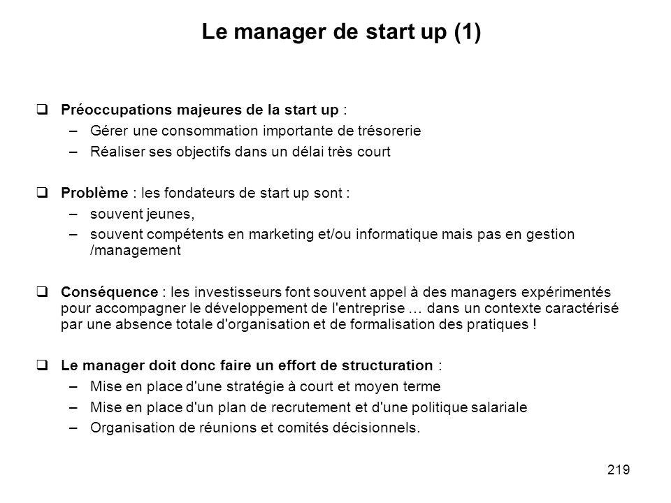 219 Le manager de start up (1) Préoccupations majeures de la start up : –Gérer une consommation importante de trésorerie –Réaliser ses objectifs dans