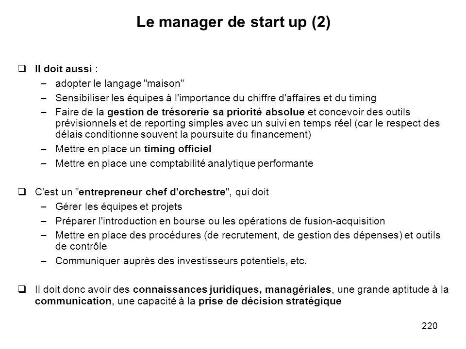 220 Le manager de start up (2) Il doit aussi : –adopter le langage