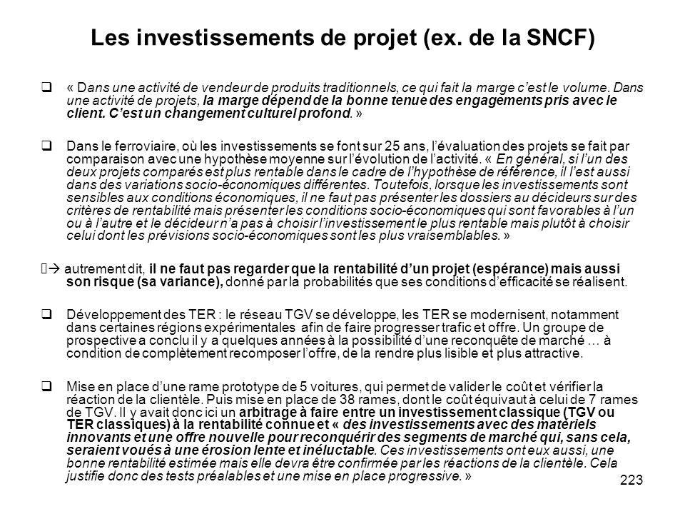 223 Les investissements de projet (ex. de la SNCF) « Dans une activité de vendeur de produits traditionnels, ce qui fait la marge cest le volume. Dans