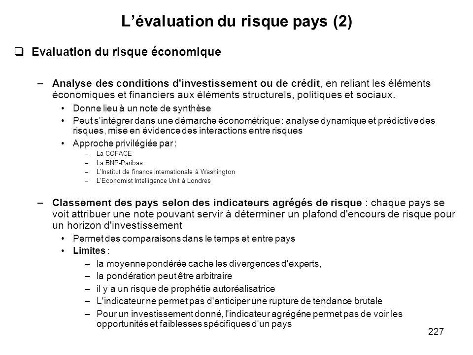 227 Lévaluation du risque pays (2) Evaluation du risque économique –Analyse des conditions d'investissement ou de crédit, en reliant les éléments écon