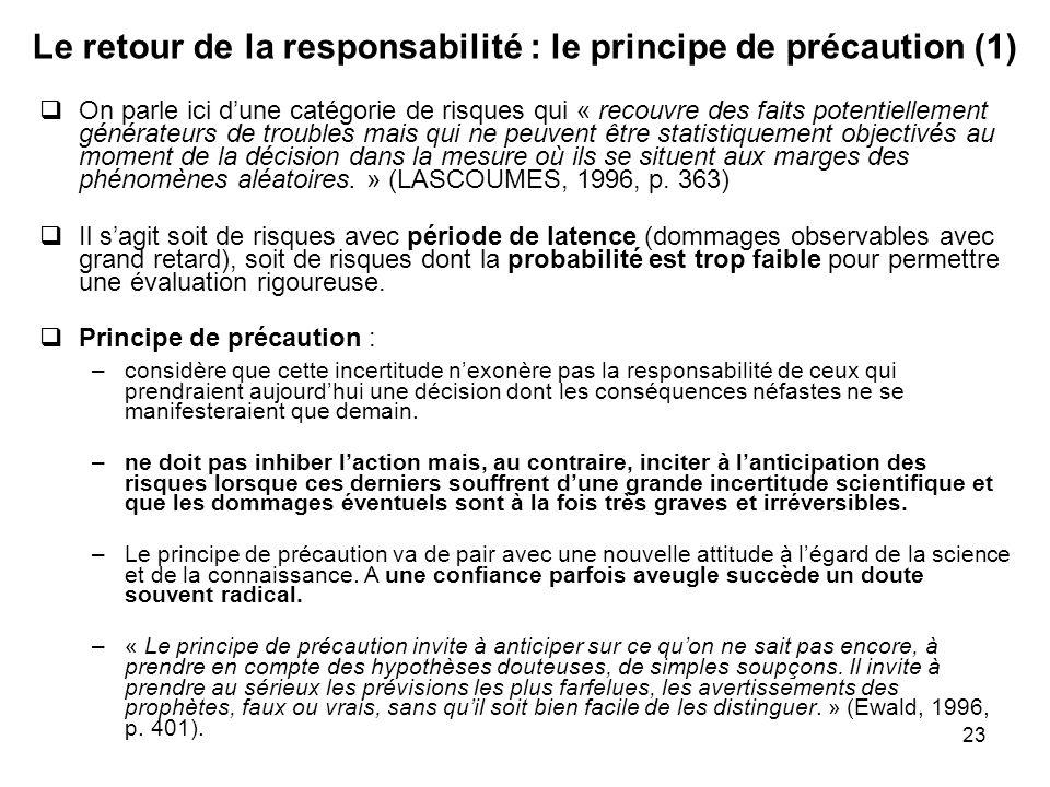 23 Le retour de la responsabilité : le principe de précaution (1) On parle ici dune catégorie de risques qui « recouvre des faits potentiellement géné