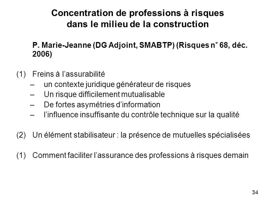 34 Concentration de professions à risques dans le milieu de la construction P. Marie-Jeanne (DG Adjoint, SMABTP) (Risques n° 68, déc. 2006) (1)Freins