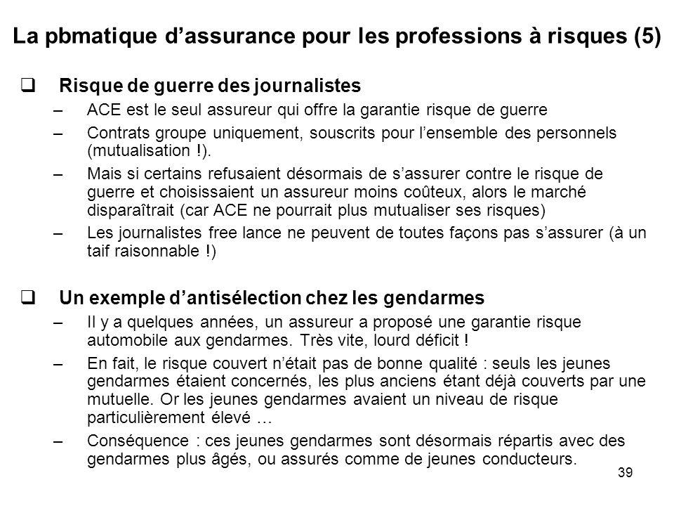 39 La pbmatique dassurance pour les professions à risques (5) Risque de guerre des journalistes –ACE est le seul assureur qui offre la garantie risque