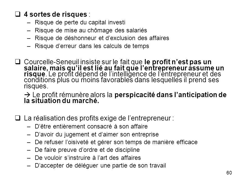 60 4 sortes de risques : –Risque de perte du capital investi –Risque de mise au chômage des salariés –Risque de déshonneur et dexclusion des affaires